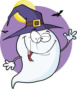 301x350 Clip Art Illustration Of A Cartoon Ghost Wearing A Witches Hat