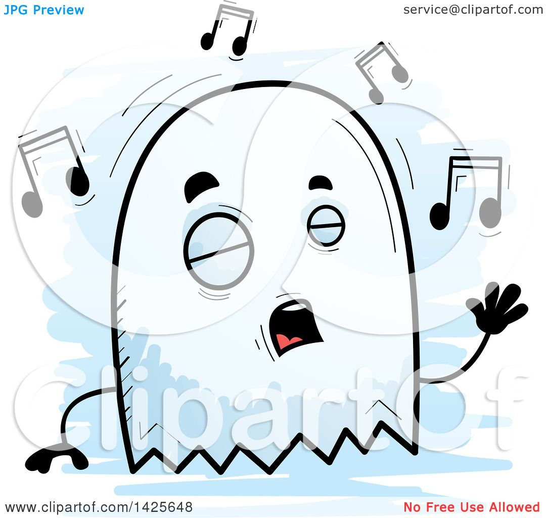 1080x1024 Clipart Of A Cartoon Doodled Singing Ghost