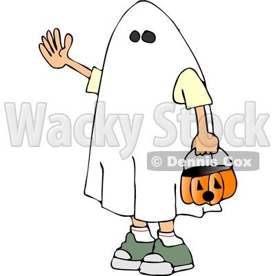 400x400 Boy Wearing Halloween Ghost Costume Clipart Djart