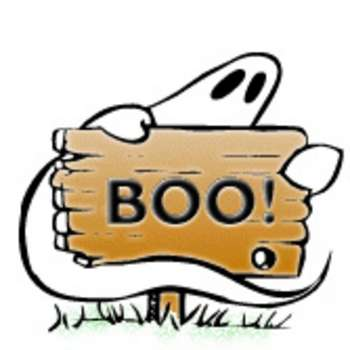 350x350 Cartoon Clipart Picture Of A Ghost With A Wooden Boo Sign