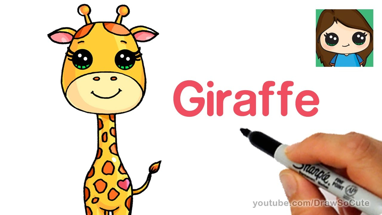 1280x720 Cartoon Drawing Of A Giraffe Cartoon Giraffe Clipart Free