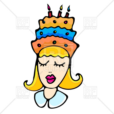 400x400 Cartoon Girl With Closed Eyes Cake On Head