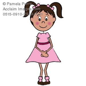 300x300 Shy Little Girl In A Pink Dress Royalty Free Clip Art Picture