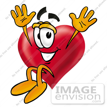 450x450 Clip Art Graphic Of A Red Love Heart Cartoon Character Jumping