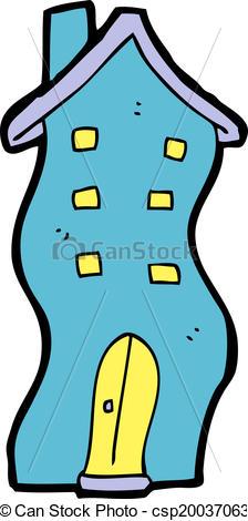 224x470 Cartoon House Doodle Clip Art Vector