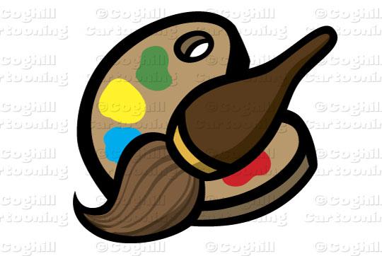 540x362 Paintbrush Amp Palette Stock Illustration Cartoon Clipart