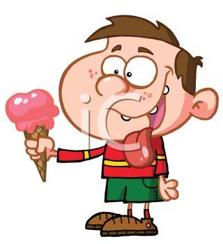 320x350 Cartoon Of A Creepy Looking Kid Eating An Ice Cream Cone