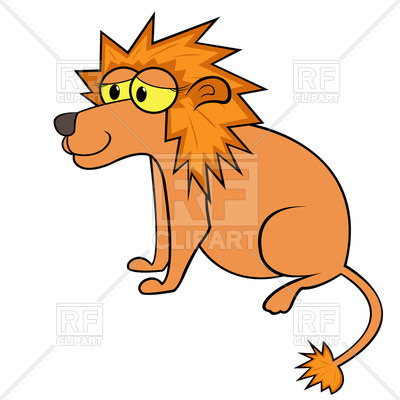 400x400 Simple Sitting Cartoon Lion Royalty Free Vector Clip Art Image