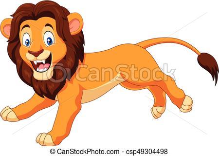 450x320 Vector Illustration Of Cartoon Happy Lion Running Eps Vectors