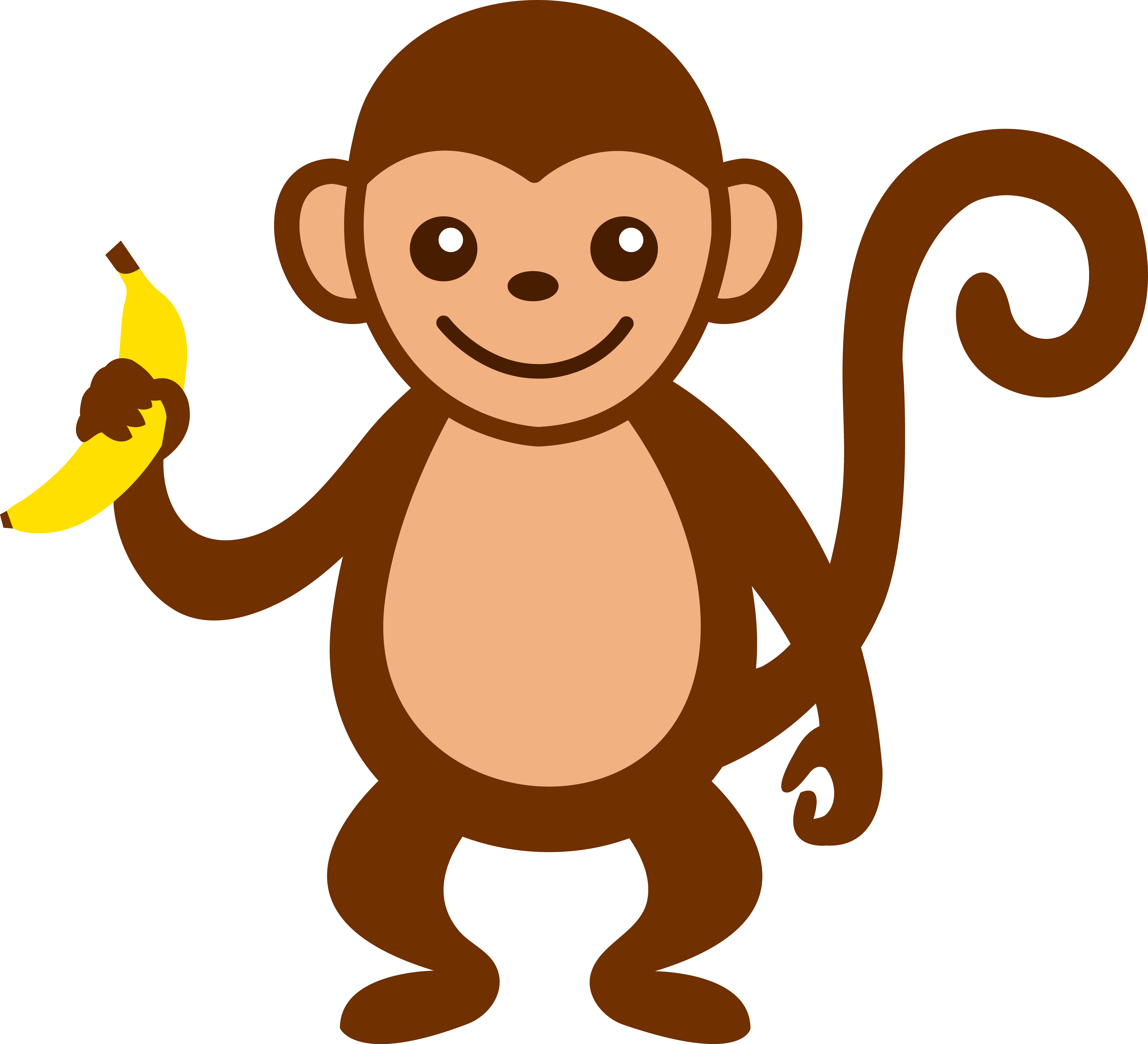 6597x6001 Cartoon Monkey Clip Art Cute Monkey With Banana