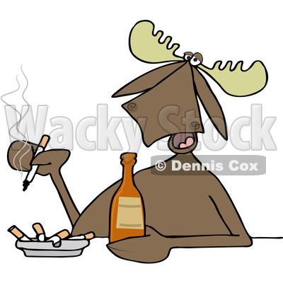 400x400 Clipart Of A Cartoon Moose Smoking And Drinking A Beer