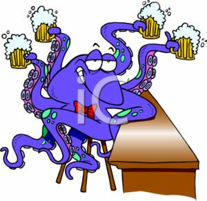 300x292 Clipart Image Of A Cartoon Octopus With Glasses Of Beer
