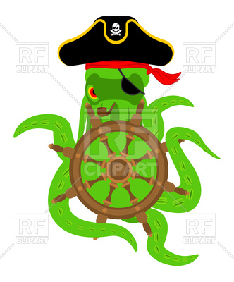 332x400 Octopus Pirate And Steering Wheel Royalty Free Vector Clip Art
