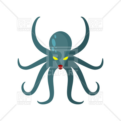 400x400 Cartoon Angry Octopus Royalty Free Vector Clip Art Image