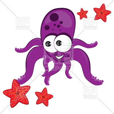 400x400 Cartoon Octopus With Starfish Royalty Free Vector Clip Art Image