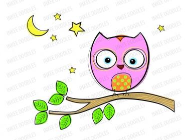 375x280 Owls Clip Art Set