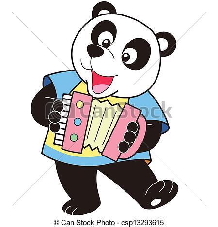 450x470 Cartoon Panda Playing An Accordion. Vector Clip Art