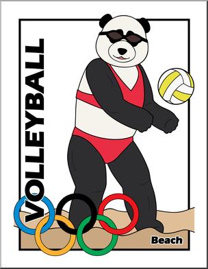 304x392 Clip Art Cartoon Olympics Panda Beach Volleyball Color I