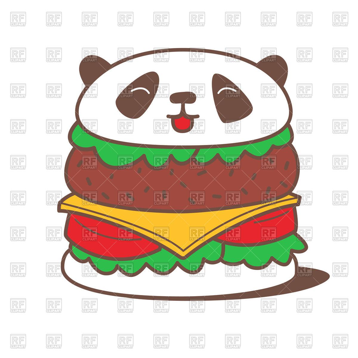 1200x1200 Funny Kawaii Burger With Panda Head Royalty Free Vector Clip Art