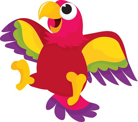 441x390 Happy Cartoon Parrot Premium Clipart