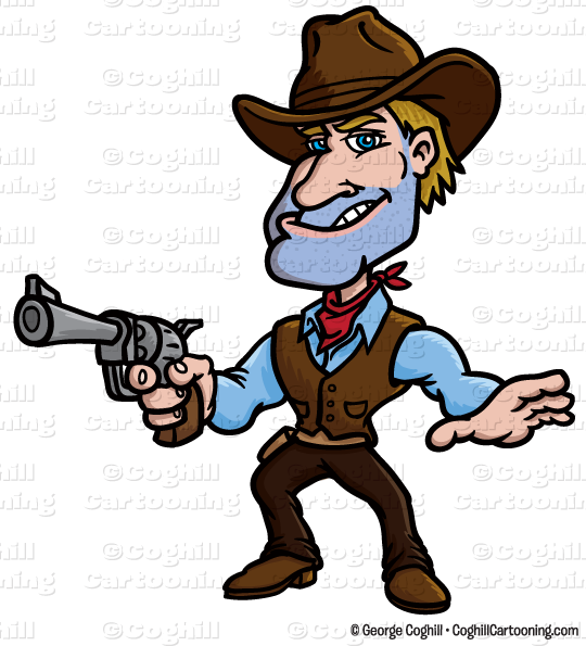 540x595 Cartoon Gunslinger Cowboy Clip Art Stock Illustration