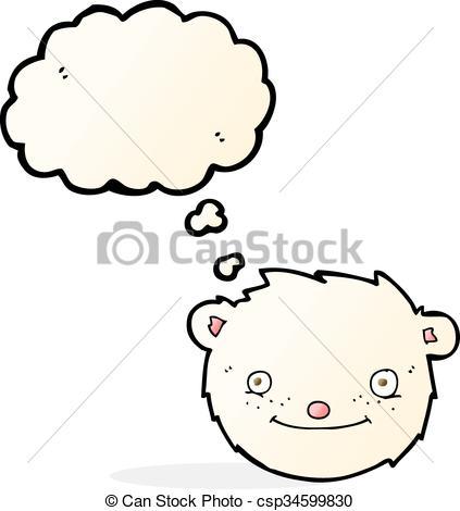 423x470 Cartoon Polar Bear Head With Thought Bubble Vectors