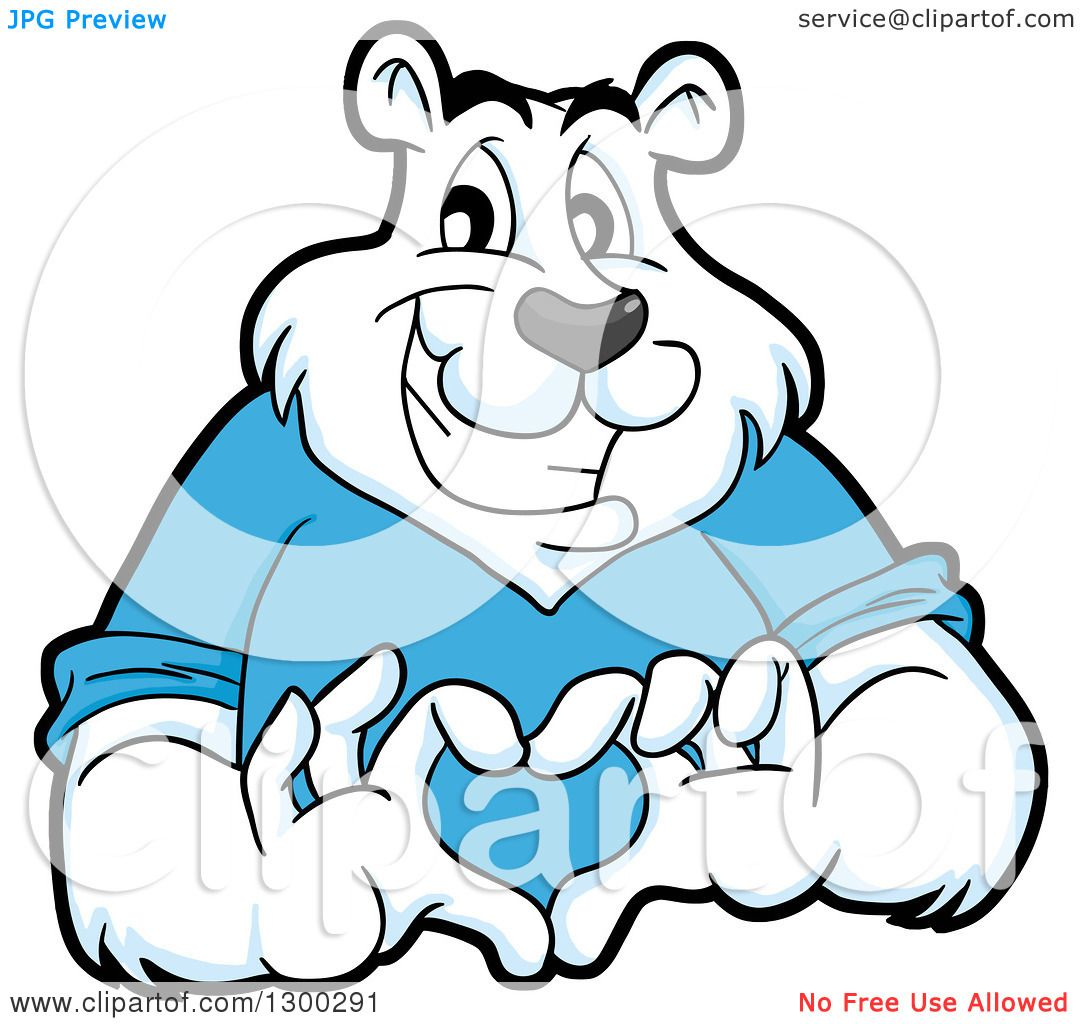 1080x1024 Clipart Of A Cartoon Polar Bear Mascot Forming A Love Heart