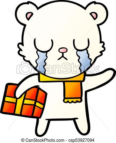 383x470 Crying Polar Bear Cartoon With Christmas Gift Eps Vectors