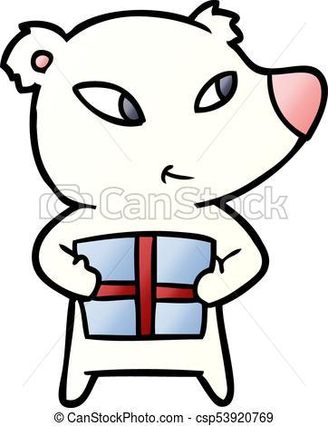 362x470 Cute Cartoon Polar Bear With Xmas Present Clip Art Vector