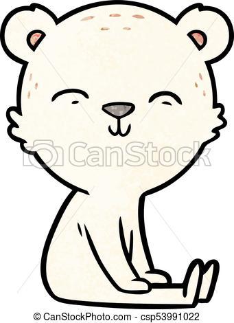341x470 Happy Cartoon Polar Bear Sitting.
