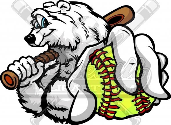 590x433 Winter Softball Clipart Polar Bear With Softball Ball