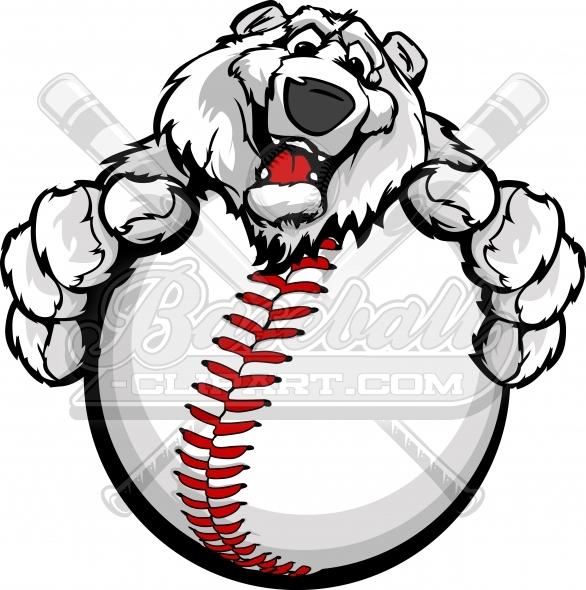 586x590 Baseball Polar Bear Clipart Cartoon With Paws Around Baseball