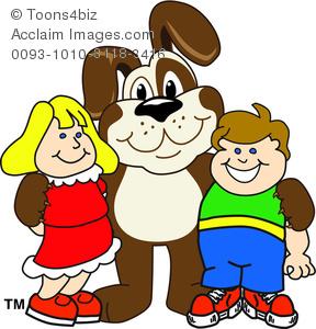 288x300 Clipart Cartoon Puppy Hugging A Boy And A Girl