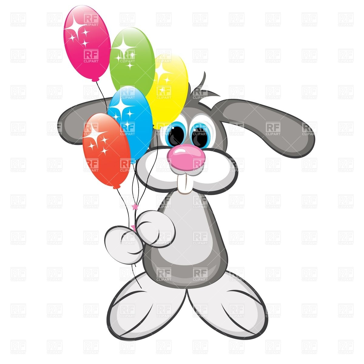 1200x1200 Cartoon Rabbit With Colorful Balloons Royalty Free Vector Clip Art