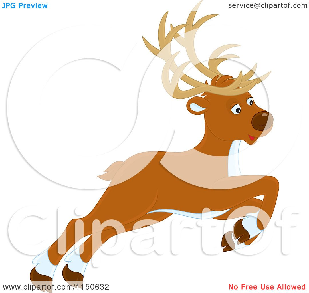 1080x1024 Cartoon Of A Leaping Or Flying Christmas Reindeer