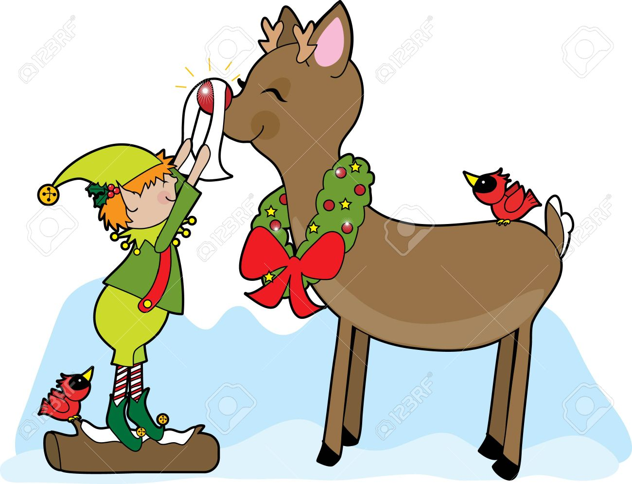 1300x996 Reindeer And Elf Clipart