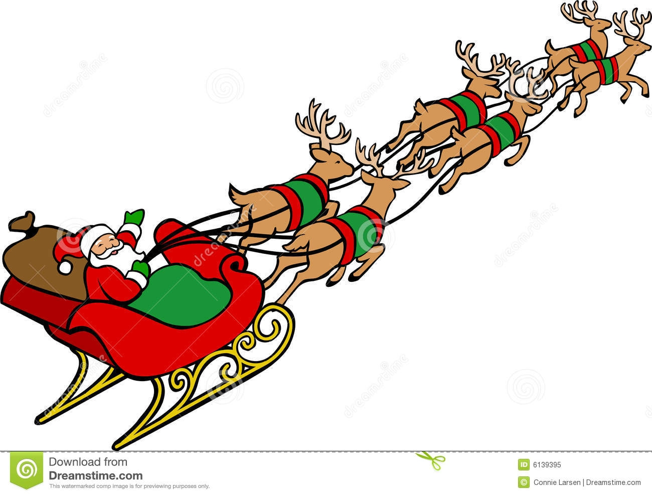 1300x989 Santa With Reindeer Clipart