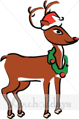 258x388 Cartoon Rudolph In Santa Hat Reindeer Clipart