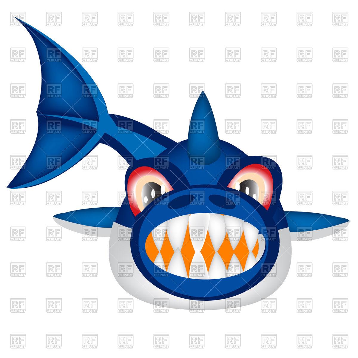 1200x1200 Cartoon Shark Front View Royalty Free Vector Clip Art Image