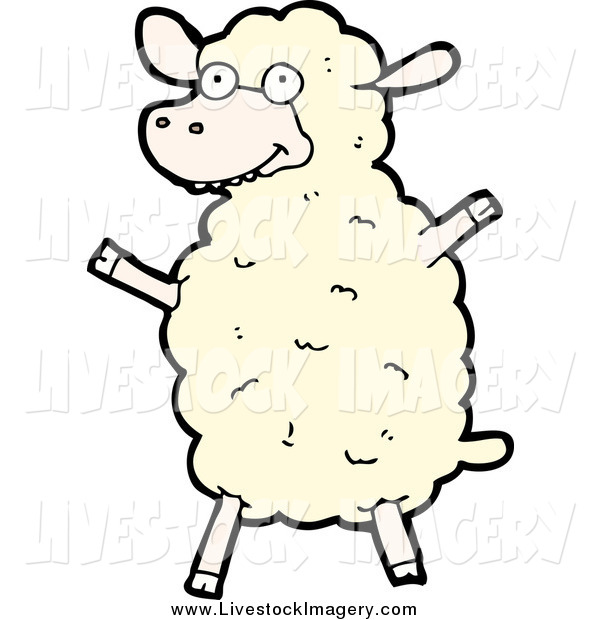 600x620 Clip Art Of A White Sheep Cheering By Lineartestpilot
