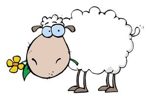 300x202 Sheep Clipart Image Cartoon Sheep Eating A Flower When I Become