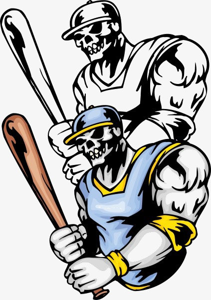 423x600 Cartoon Skeleton Holding A Baseball Bat, Bat, Skull Illustration