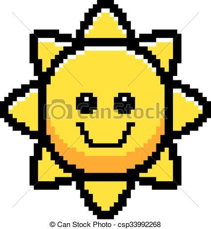 432x470 Smiling 8 Bit Cartoon Sun. An Illustration Of The Sun Clip Art