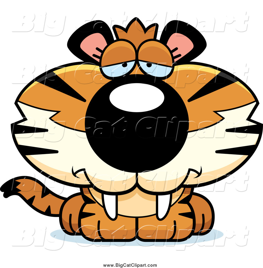 1024x1044 Big Cat Cartoon Vector Clipart Of A Depressed Tiger Cub By Cory