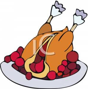 297x300 Clip Art Image A Cranberry Stuffed Turkey