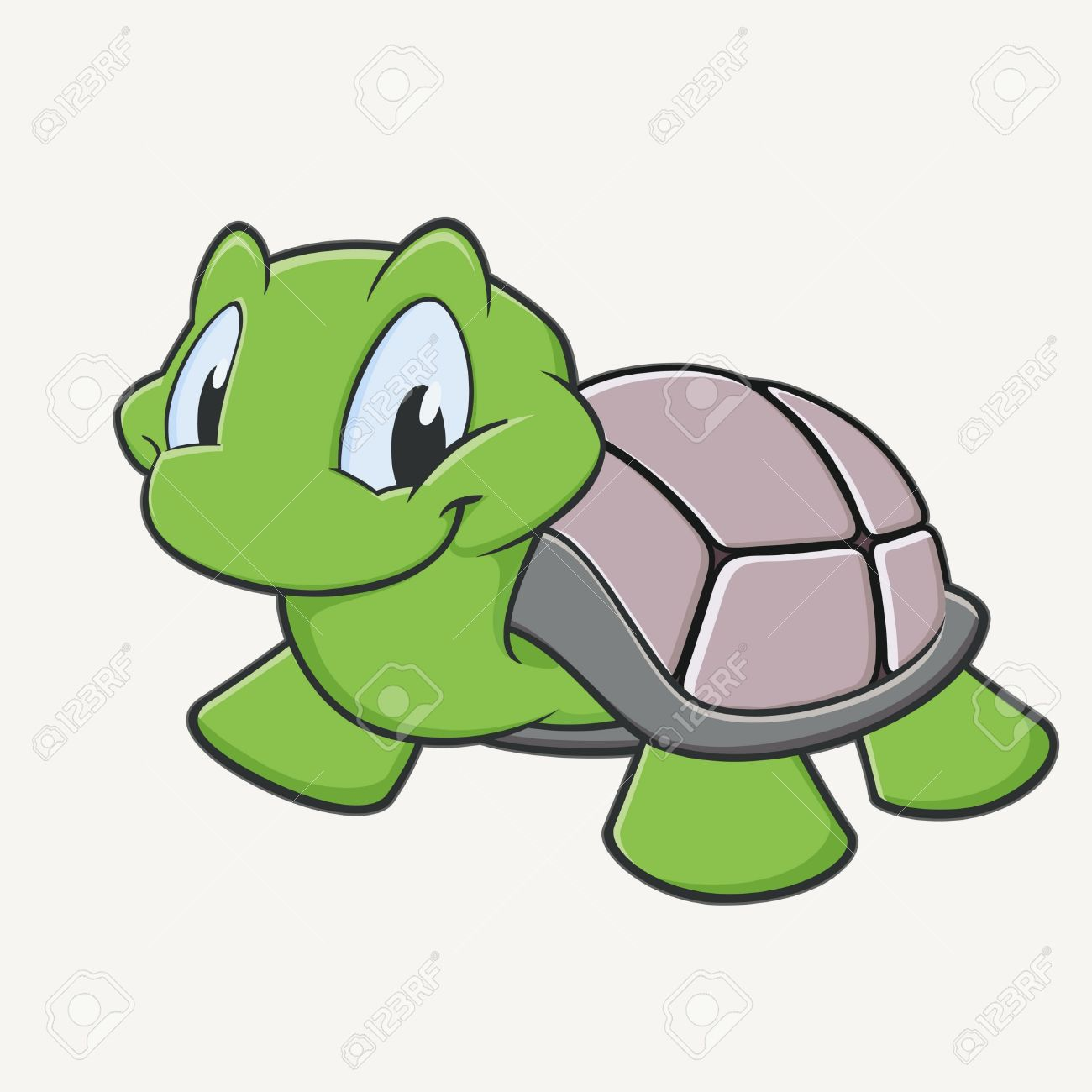 1300x1300 Vector Illustration Of A Cutely Smiling Cartoon Turtle Royalty