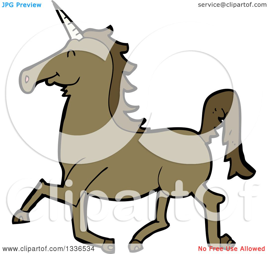 1080x1024 Clipart Of A Cartoon Brown Unicorn Running