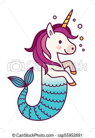 326x470 Cute Unicorn Mermaid Simple Vector Cartoon Illustration . Eps