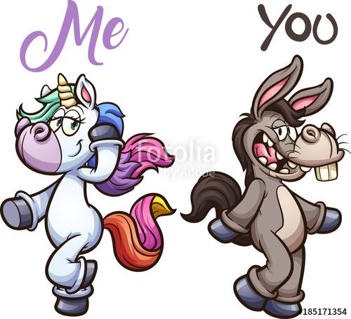 500x455 Unicorn And Donkey Posing. Vector Clip Art Illustration