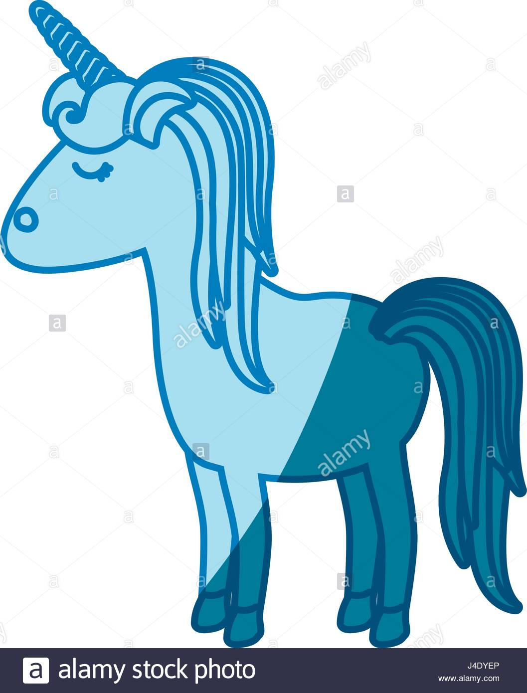 1057x1390 Blue Silhouette Of Cartoon Unicorn Standing With Closed Eyes